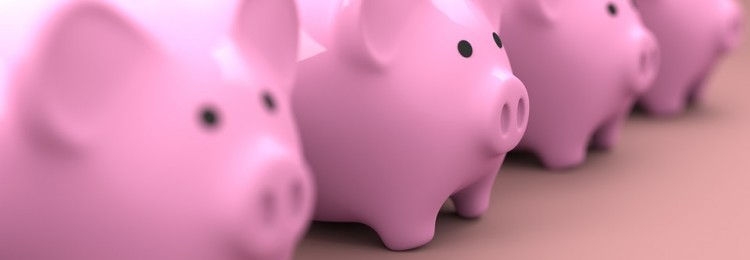 Row of Pink Piggy Banks | Retirement